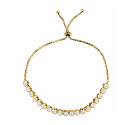 This feminine, light 925 sterling silver bracelet features one row of beautiful cubic zirconia on a sterling silver adjustable chain.  This bracelet is 14K gold plated.  It can be worn as a single bracelet or stacked.  Being this bracelet is adjustable, it will fit most wrists  Hypoallergenic