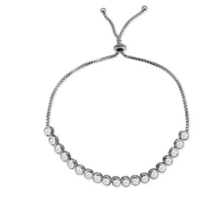 This feminine, light 925 sterling silver bracelet features one row of beautiful cubic zirconia on a sterling silver adjustable chain.   This bracelet is rhodium plated .   It can be worn as a single bracelet or stacked.  Because this bracelet is adjustable, it will fit most wrists  Hypoallergenic