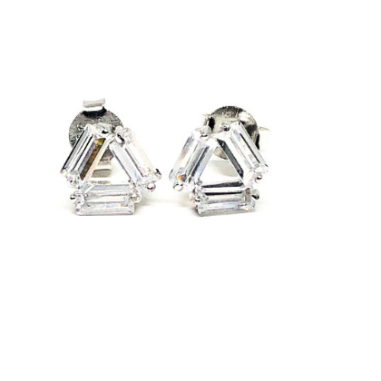 These 925 sterling silver triangle cubic zirconia studs are not only cute but trendy. You can dress them up or wear them casually.  Size: 10mm  High quality cubic zirconia  Lead and nickel free  Hypoallergenic