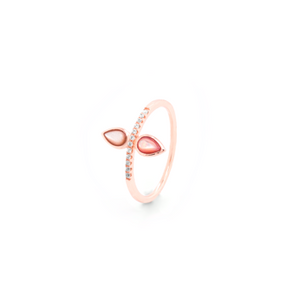 "Rose Quartz and White Topaz Pear Ring - ""NEW PRODUCT"""