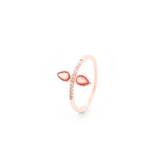 Rose Quartz and White Topaz Pear Ring -