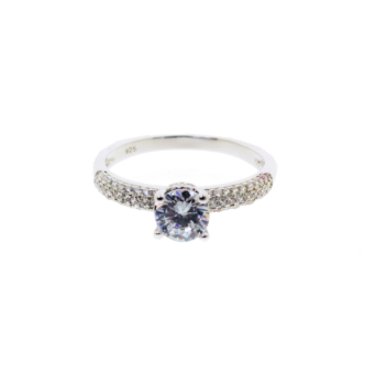 Cubic Zirconia Ring with Double Row Pave Cubic Zirconia
