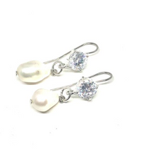 Load image into Gallery viewer, These earrings are genuine freshwater pearl with cubic zirconia   Posts are white gold plated   Hypoallergenic   Lead and nickel free