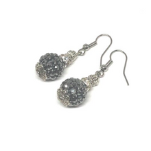 Load image into Gallery viewer, These black glitter ball earrings are very elegant. The finishings on each earring are white gold plated.  They are hypoallergenic, lead and nickel free and tarnish resistant  Length: 4cm in length