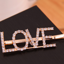 Load image into Gallery viewer, Love Rhinestone Clip (Gold/Crystal)