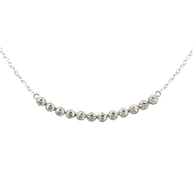 "This beautiful 925 sterling silver cubic zirconia bezel necklace is rhodium plated and is a great compliment to any outfit.  The necklace is 16"" in length with a 2"" extender.  Lead and nickel free"