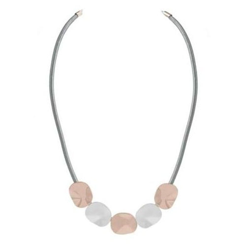 "Discover eye-catching, straight-off-the-runway inspired pieces. One statement piece, infinite possibilities…  Merx Modern is exclusively designed and handmade in Canada.  This short necklace has shiny rose gold with matte silver on a grey cord chain.   This necklace is 16"" + 3"" extender"