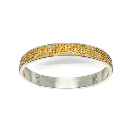 This swarovski bangle is made from surgical stainless steel and is 2.5