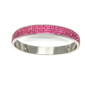 "This swarovski rose bangle  is made from surgical stainless steel and is 2.5"" wide  This bangle has 4 rows of Swarovski Crystals set in a clay base  Hypoallergenic, lead and nickel free   This bangle is 2.75"" in circumference and has a latching closure"