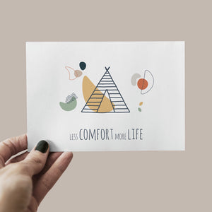 Postkarte less comfort more life