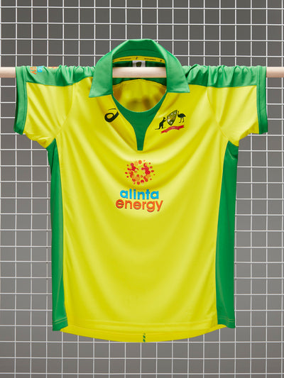 Cricket Australia 2020/21 Men's Replica Yellow ODI Home Shirt Front