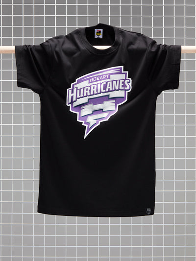 Hobart Hurricanes 2020/21 Men's Black Full Colour Logo T-Shirt Front