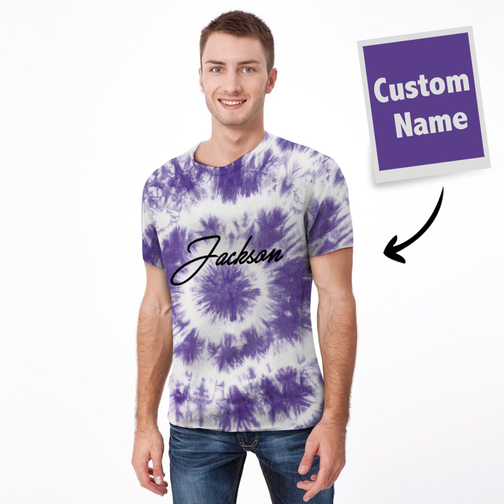 T-shirt Tie-dye Name T-shirt Fashion Style - Homme