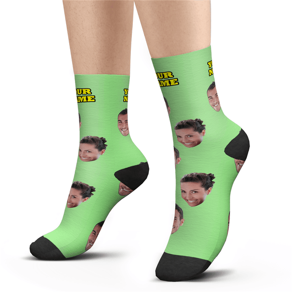 Custom Happy Photo Socks With Your Text Colorful - MyPhotoSocks