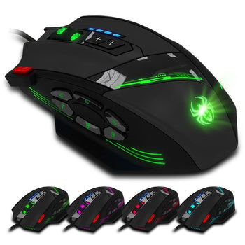 4000 DPI Wired USB Optical Gaming Mouse with 12 Programmable Buttons and Adjustable DPI