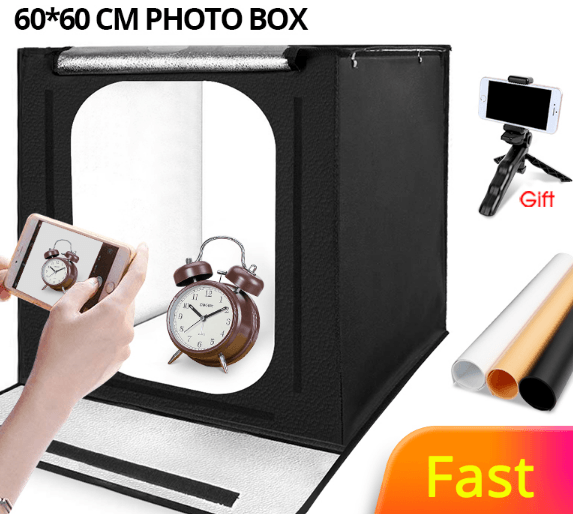 40*40/60*60cm LED Softbox Lightbox Tabletop Shooting Foldable Tent Photobox with Dimmer
