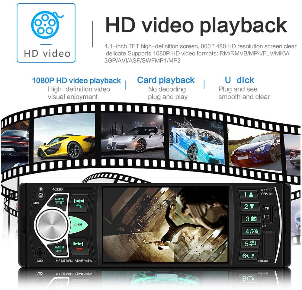 4.1 Inch Digital TFT Single Din Car Stereo Player w/ Rear View Camera