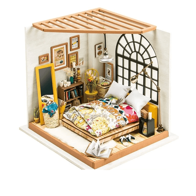 Easy to Assemble Educational Wooden DIY Dollhouse with Furniture - Complete Miniature Doll House Kits