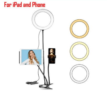 Flexible Cell Phone Holder Stand 3 Light Modes LED Selfie Ring Light