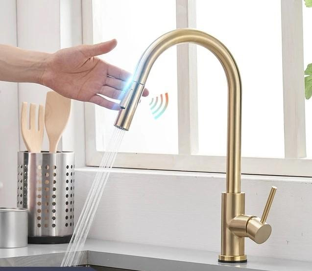 Homeware by Design Smart Touch-Activated Kitchen Sink Faucet with Pull Down Sprayer
