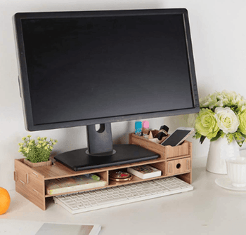 Homeware by Design™ Stylish Wooden Monitor Riser Desktop Stand with Built-In Storage and Organizer