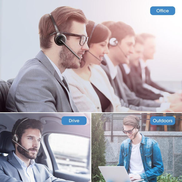 Mpow Wireless Headset With Mic Charging Base For Call Center Office