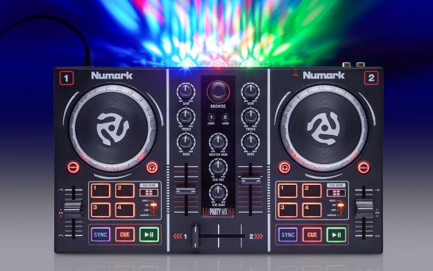 Numark Party Mix Serato LE DJ Controller w/ Built In Lightshow Headphones