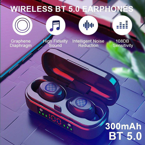 Sports Stereo V7 BT5.0 Wireless Waterproof Earbuds with LED Display Charging Case