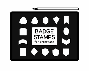 Load image into Gallery viewer, Badge stamps for procreate - shapes used for stickers, badges, patches, and more