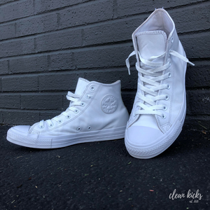 all white converse all-star chuck Taylor's clean by clean kicks 614