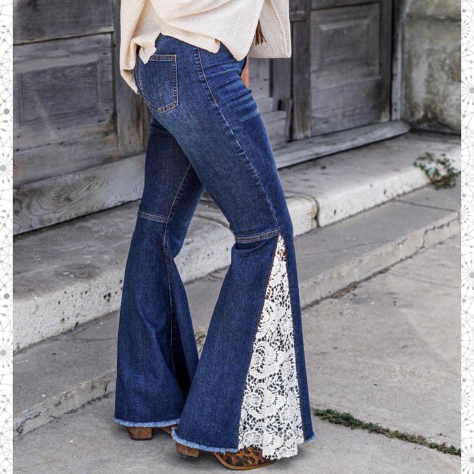 L&B Denim & Lace Flare Jeans