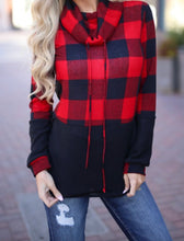 "Load image into Gallery viewer, ""Laurel"" - Navy/Red Buffalo Check Cowel Neck"