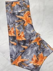 Orange & Gray Flower Capri W/ Pockets