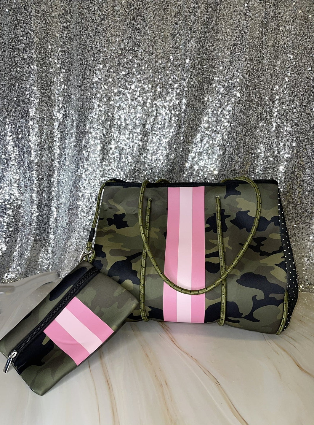 Large Green Camo Neoprene Bag With Pouch