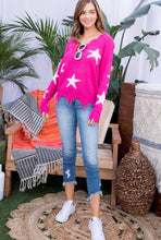 Load image into Gallery viewer, Pink Frayed Star Sweater