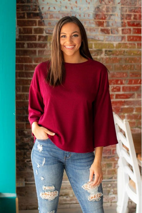 L&B Burgundy 3/4 Bell Sleeve Top