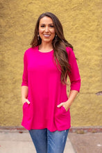 Load image into Gallery viewer, L&B Fuchsia Crew Neck with Side Pockets