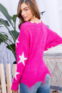 Pink Frayed Star Sweater