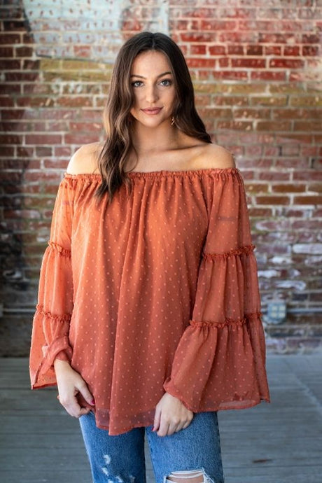 L&B Burnt Orange Off the Shoulder Blouse