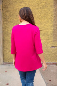 L&B Fuchsia Crew Neck with Side Pockets