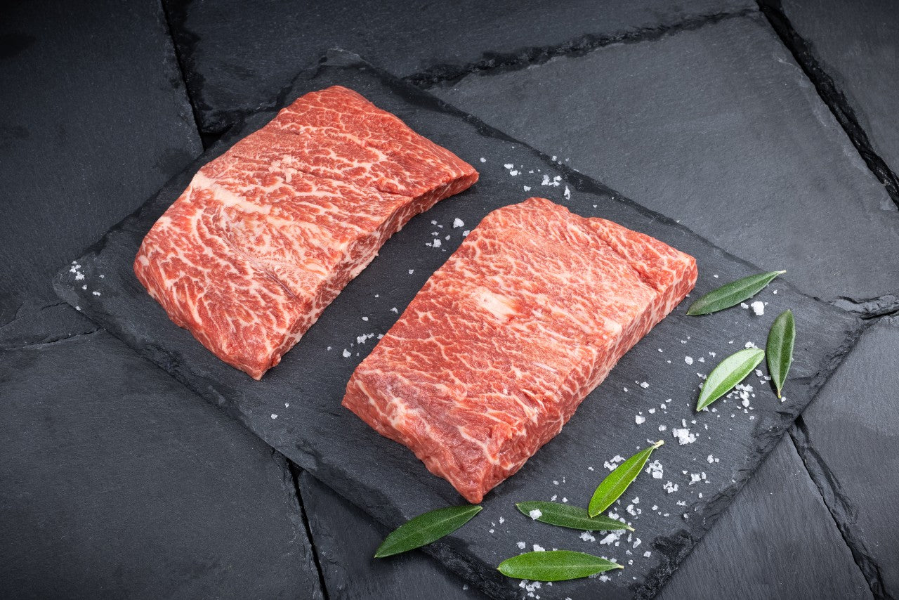 2 x Freedown Hills Olive Fed Wagyu Flat Iron Steaks