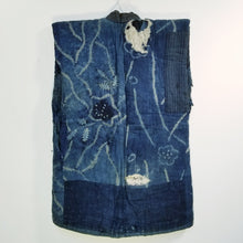 Load image into Gallery viewer, Patchwork Aizome Indigo Boro Shibori Antique Vest