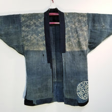 Load image into Gallery viewer, Noragi ~ Patched workcoat Hemp & Cotton Katazome Farmer's Jacket
