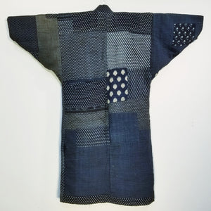 Patchwork Aizome Boro Meiji Antique Reversible Noragi Jacket