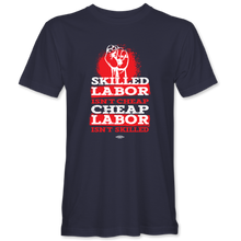 "Load image into Gallery viewer, ""Skilled Labor_Red Splotch Design"" T-shirt (available in black and navy)"