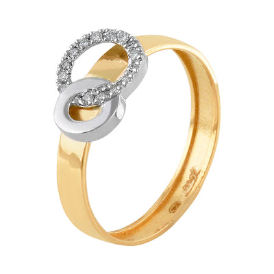 Anillo En Oro Amarillo y Blanco, Diamantes