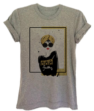 "Load image into Gallery viewer, Gray Graphic ""Turban Girl"" Women's Tee"
