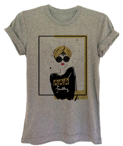 "Gray Graphic ""Turban Girl"" Women's Tee"