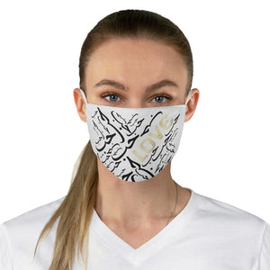 White LOVE Fabric Face Mask