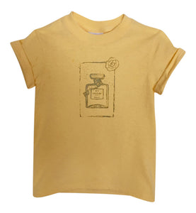 "Yellow Graphic Toddler Size ""Couture"" Perfume Bottle Tee"